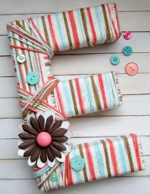 DIY yarn wrapped letter.  {ribbonsandglue.com}