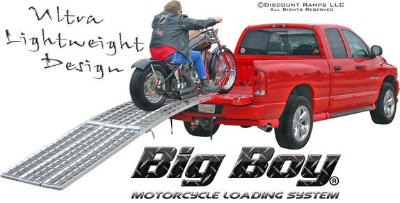http://www.motorcyclemaintenancetips.com/motorcycleloadingramps.php has some information on how to shop for ramps which would allow for motorcycles to be loaded onto a separate vehicle.