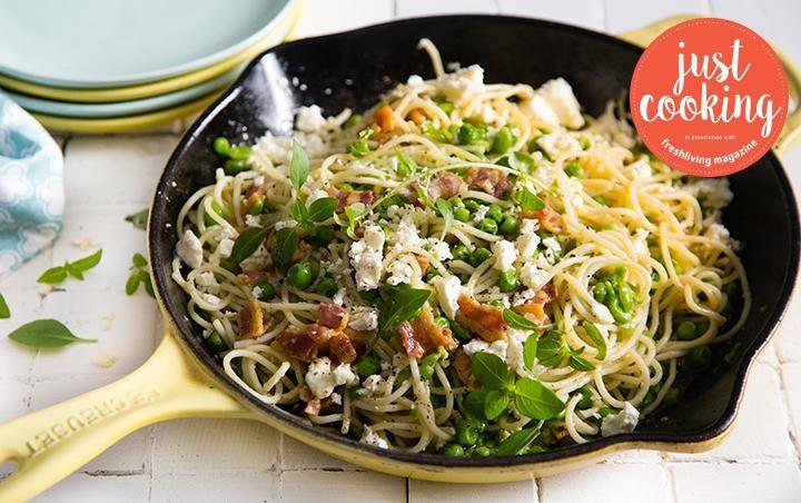 Smashed pea and feta spaghetti with bacon crumble
