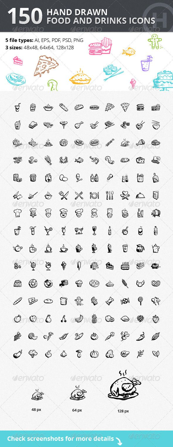 150 Hand-drawn Food and Drinks Icons - Food Objects