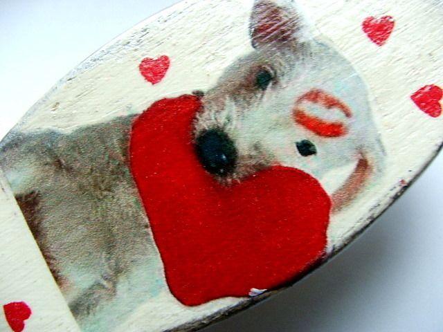 pies serce szczotka do włosów jedyna prezent w PrezentDlaCiebie na DaWanda.com