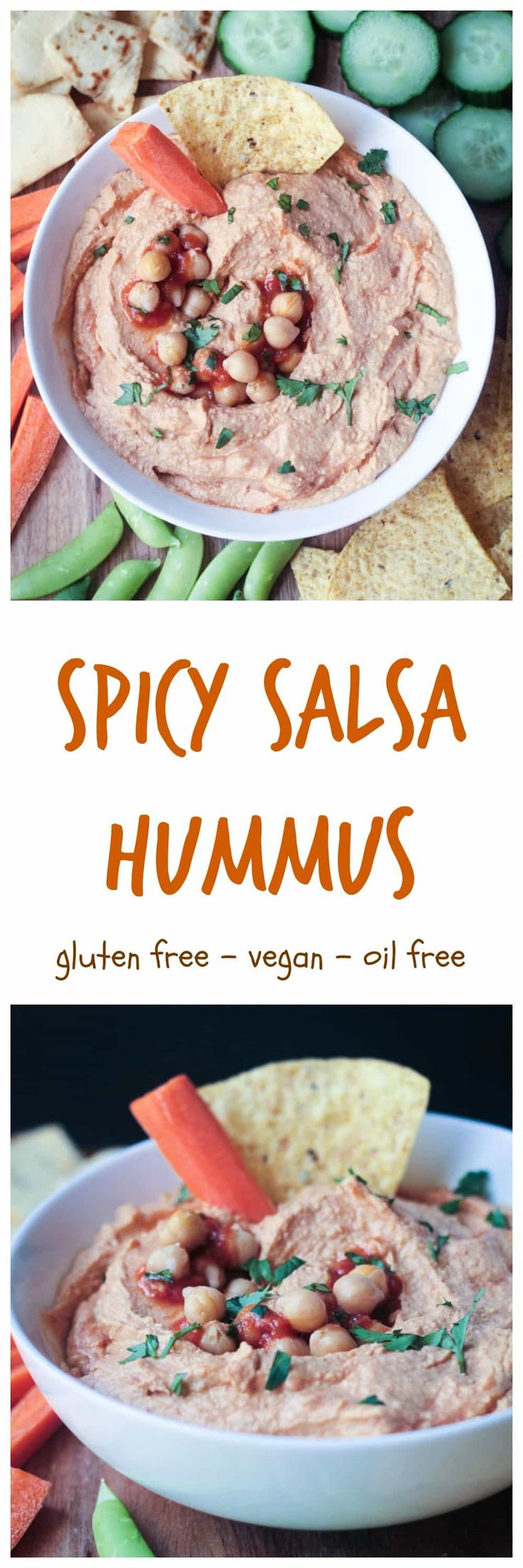Spicy Salsa Hummus - a quick and easy dip recipe perfect for snacking or parties. It's delicious with tortilla chips, pretzels, crackers, or fresh raw veggies. Just a few ingredients and a couple minutes is all you need to throw this dairy free dip together. Oil free, gluten free, and vegan! via @veggieinspired