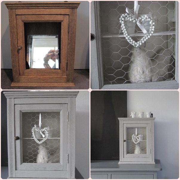 mooi oud frans medicijnkastje  de spiegel was kapot, dus daarvoor heb ik gaas in het deurtje gedaan.  grijs van buiten, wit van   Hij is zo mooi geworden