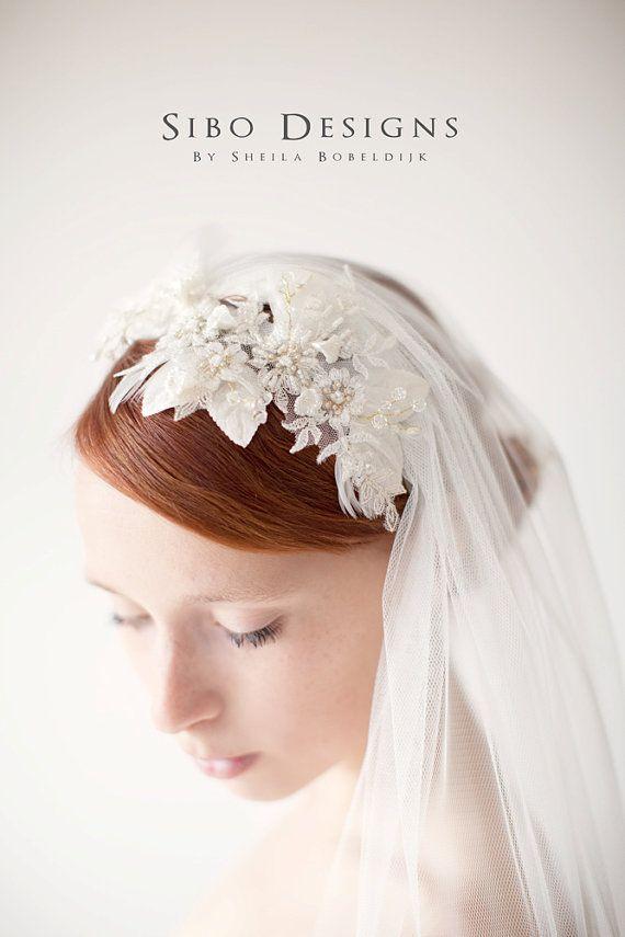 Bridal Headpiece Lace Hair Piece Wedding Hair by sibodesigns