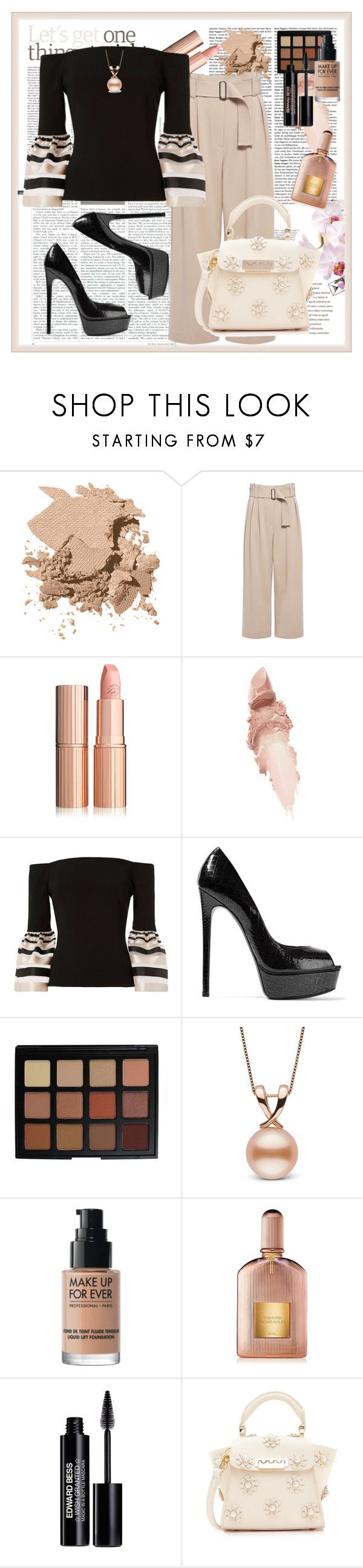 """Nude & Black"" by stars-5 ❤ liked on Polyvore featuring Bobbi Brown Cosmetics, A.L.C., Maybelline, Exclusive for Intermix, Casadei, Morphe, MAKE UP FOR EVER, Tom Ford, Edward Bess and ZAC Zac Posen"