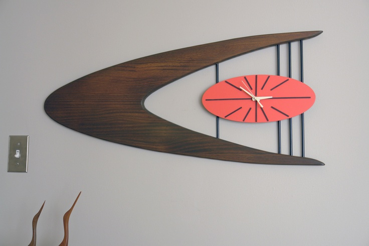 googie boomerang wall clock starburst atomic mid century