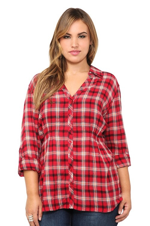 Red Plaid Button Up Top For Your Amy Pond Cosplay Needs