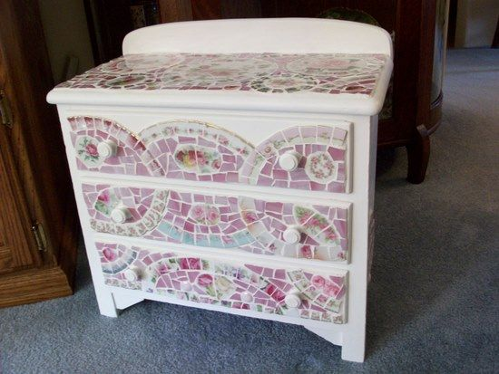 Absolutely Adorable Small Chest Shabby Rose China Mosaic Tile, This is such a cute piece! I found the most adorable little antique chest while shopping with my sister-in-law in our favorite antique mall. Absolutely perfect for any room in your home. This little chest can be used in your bathroom to hold toiletries or linens, in your bedroom for your lace pretties or jewelry, in your dining room for your silverware storage…get the idea? Painted white on the outside but not inside as I find…