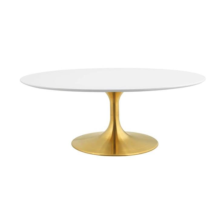 Lippa 42 Oval Shaped Coffee Table In Gold White Gold Coffee Table Contemporary Coffee Table Oval Coffee Tables