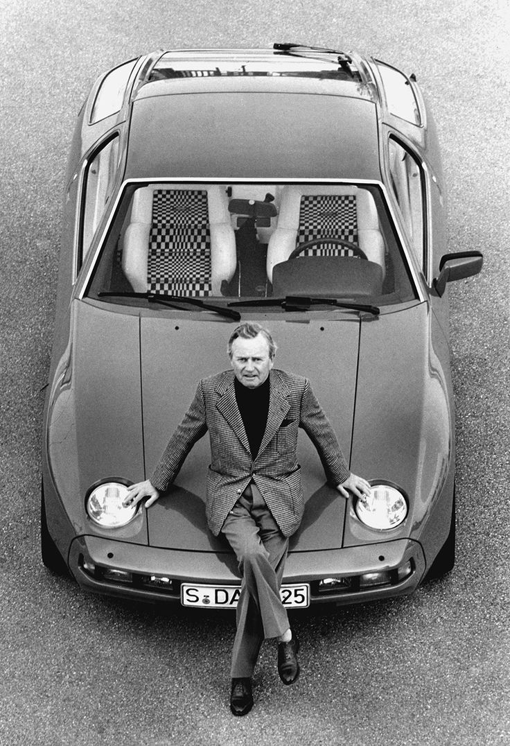 Dr. Ferry Porsche (son of Ferdinand) with a Porsche 928