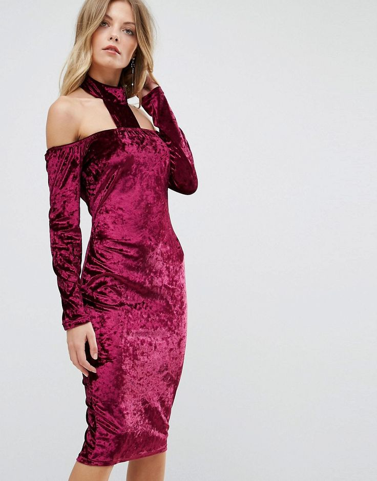 Ax Paris Crushed Velvet T Bar Neck Midi Dress - Purple