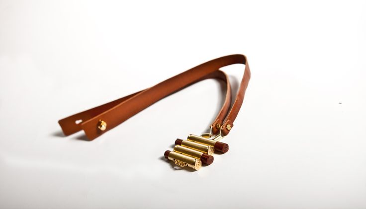 gold plated brass, leather