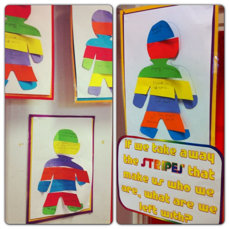 PSHE -'A Bad Case of Stripes' - kids write what makes them special or different on stripes & when you peel the stripes away you are left with the negative consequences for hiding the real them.