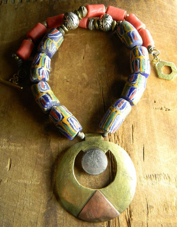 African Tribal Jewelry Tuareg Pendant Necklace by ChrysalisToo