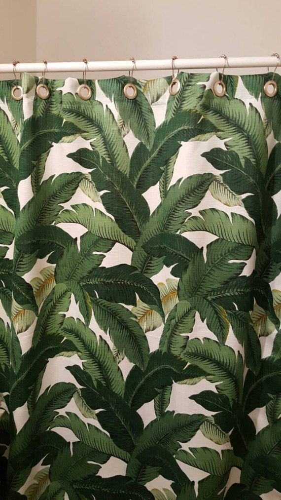 Shower Curtain Tropical Print in Tommy Bahama Indoor/Outdoor Swaying Palms Aloe with Grommets Available in many Sizes. Colors include shades of green and black on an ivory background.  Since this fabric comes in a 54 width, the Shower Curtain may have a seam professionally covered .  I use Dritz quality Plastic Grommets that fits Drapery rods up to 1 in diameter.  At times I may not have fabric in stock and order only for your individual order, so please make sure you have reviewed your ...
