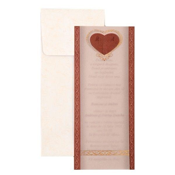 Invitatie de nunta romantica, de culoare maro cu inimioara si model auriu.