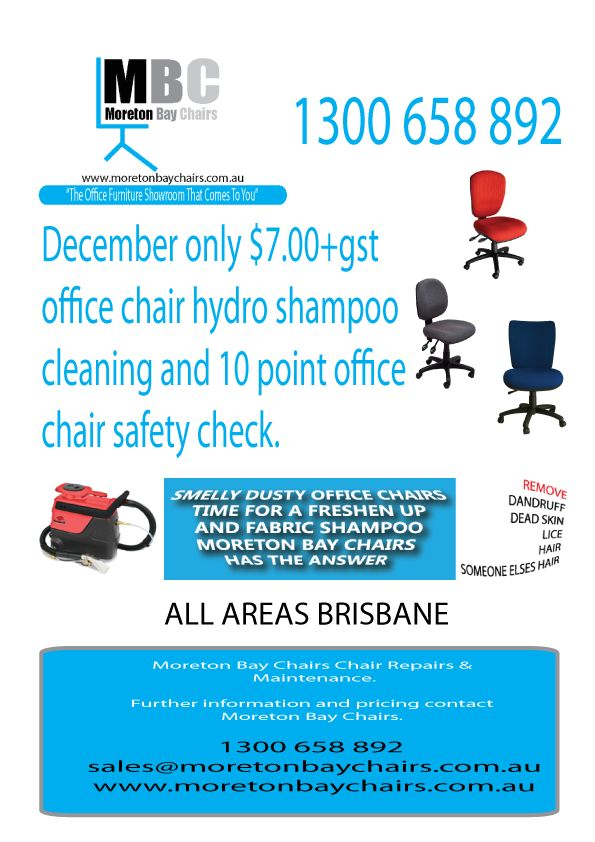 DECEMBER CHAIR CLEANING OFFER. ONLY THROUGH DECEMBER SO CALL TODAY TO BOOK IN YOUR OFFICE CHAIR CLEANING ASAP.