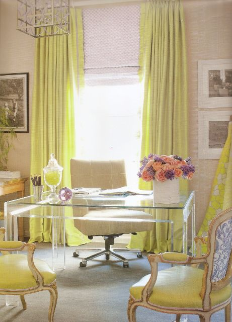 Chartreuse brings in the oh-so trendy neon look, while also adding a punch of sunshine. Love this lucite desk and chartreuse color from my friend, designer Amanda Nisbet. #amandanisbet