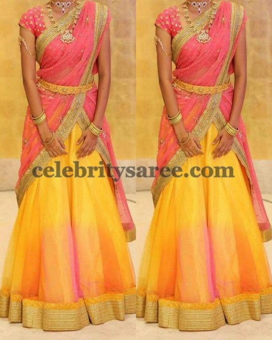 Dual Shades Simple Half Saree | Saree Blouse Patterns