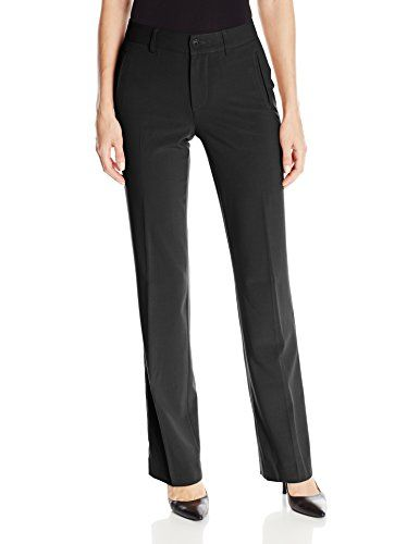 NYDJ Women's Straight Trouser, Black, 4 This chic style is a desk-to-dinner essential that you'll reach for all year roundClassic work-ready trouser in stretch fabrication featuring non-functional front and back welt pocket detailZip-fly with button closureLift tuck technologyFront rise: 9.75″, Leg opening: 16″, Inseam: 33″