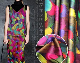 """Zijde stof, zijden streth satijn stof met kleur veren stijl-1,08 m/43 """"wide"""
