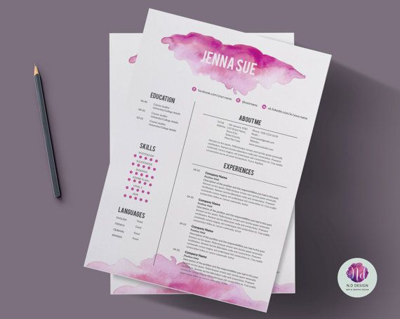 CV-template, sollicitatiebrief sjabloon & referentie briefsjabloon (roze aquarel thema) / 1 blz hervatten / creatief CV