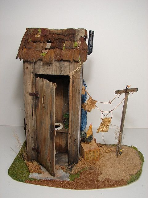outhouse - This is tiny.  Just the right size for a fairy garden.  LOL!  I mean, Fairies have to use a 'powder room' once in a while too, don't they?  :-)