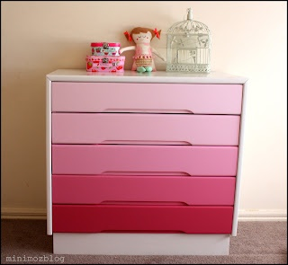 I want to do this in green or teal for my daughter's room. minimoz: Ombre Drawers Make Over