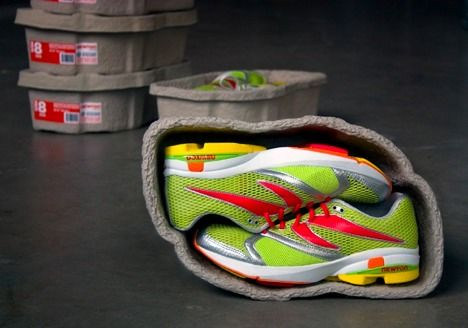 Shoebox is 100% Recycled from pulp from egg cartons. The shape protects the shoes and, like an egg carton, the molding adds strength so they can be stacked high.