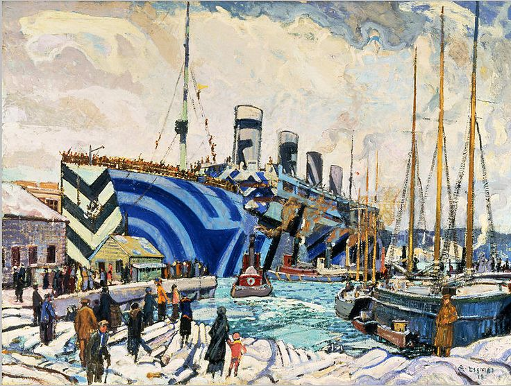 Arthur Lismer - Olympic with Returned Soldiers, Halifax, N.S., 1917.