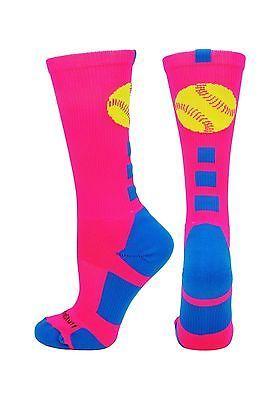 Baseball Socks 181344: Madsportsstuff Softball Logo Athletic Crew Socks Neon Pink Electric Blue Small -> BUY IT NOW ONLY: $31.38 on eBay!