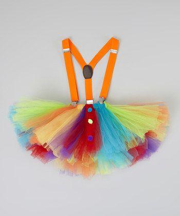 Orange  Blue Clown Tutu  Suspenders - Infant, Toddler  Girls