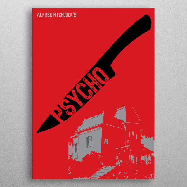 Psycho Movie Poster printed on metal. SALE! Use code: ALLSTAR Buy 3-4 get 15% OFF   5+ 20%