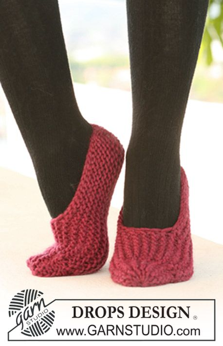 "Easy beginner project: DROPS slippers in garter st in ""Eskimo"". ~ DROPS Design"