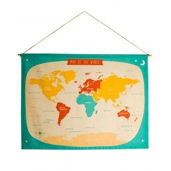 Handprinted Cotton World Map