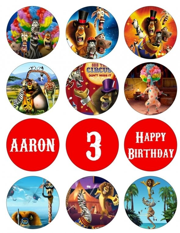 MADAGASCAR 3 Digital Birthday Party Cupcake Toppers Favor Tags