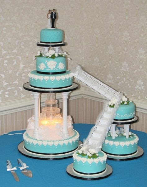 Modern Black Blue Silver White Multi-shape Round  Wedding Cake