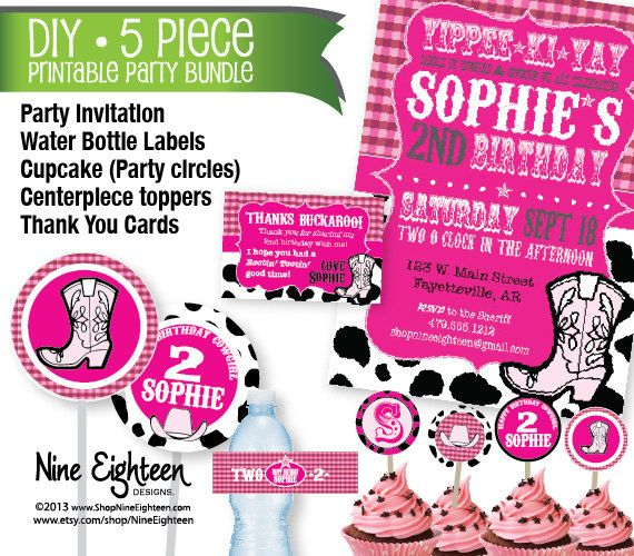10 best girls birthday party invitations images on pinterest pink cowgirl birthday party 5 piece kit custom printable pdf or jpg invitation stopboris Image collections
