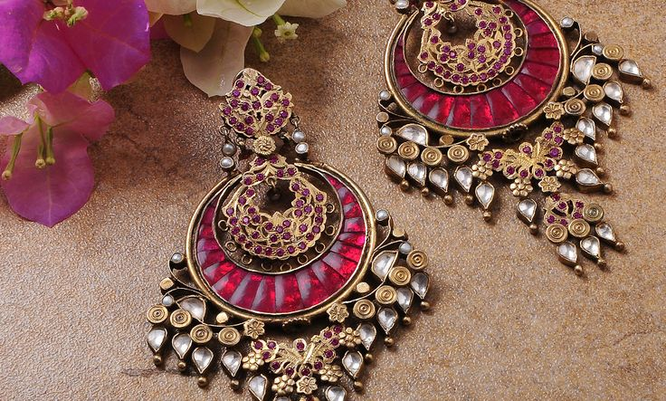 Buy Festive Treasures by Silver Streak Gold tone silver earrings, necklaces with stones and meenakari work Online at Jaypore.com