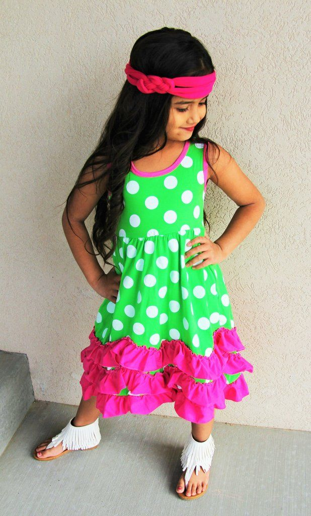 Green Hot Pink Polka Dot Ruffles Dress #boutique-outfits #clearance #daily-deal #daily-deals #dresses #new #perfect-sets