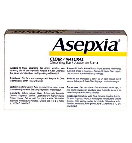 Asepxia Soap Neutral (white) 3.52 oz - Jabon Natural Blanco (Pack of 3)