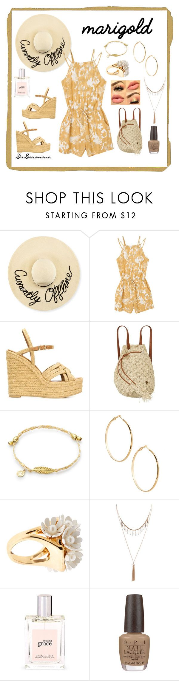 """Marigold"" by dadrumma on Polyvore featuring Eugenia Kim, RVCA, Yves Saint Laurent, Billabong, GUESS by Marciano, Lele Sadoughi, Wet Seal, philosophy, OPI and Summer"