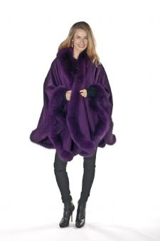 Cashmere Capes witlh Purple Fox Trim sold at MadisonAveMall! $995