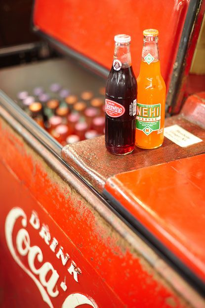 A Coke box the size of a chest freezer, loaded with ice & Nehi, CheerWine, Barq's, & RC Cola - ahhh...  #South #Southern