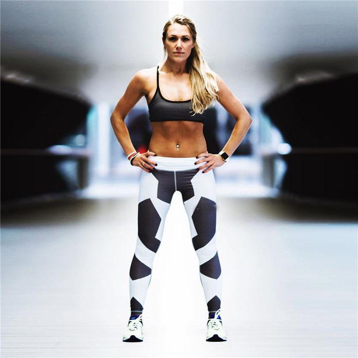 Geometry Printing Leggings Put Hip Elastic High Waist Legging Breathable Slim Pants //Price: $15.34 & FREE Shipping //     #fitnesslegging
