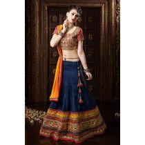 #Blue #banarasi #silk #designer #wedding wear #ghagra choli http://www.reshamfabrics.com/lehenga-choli/blue-banarasi-silk-designer-wedding-wear-ghagra-choli.html