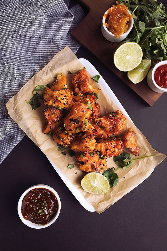"Spicy Orange Sriracha Cauliflower ""Wings"" by @TastyYummies"