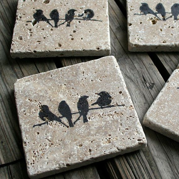 These travertine tiles naturally absorb moisture and make perfect coasters. We use waterproof ink to create the images on the coasters. Cork sheets are precisely cut and glued onto the back of the coasters for support. They are naturally rustic, natural, and look great on any coffee table.
