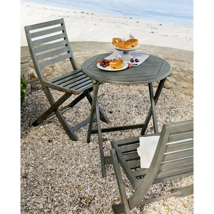 salon de jardin table et 2 chaises bois gris - Salon De Jardin Mtal Color