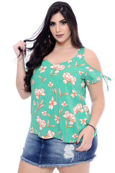 9bee83e3c Blusa Plus Size Lírio Verde em 2019 | Camisa sin hombro | Fashion ...